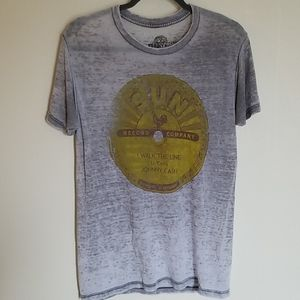 Johnny Cash Gray Burnout Soft Graphic Tee S